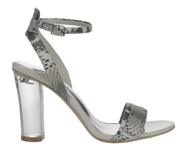 perspex heel snake effect shoes