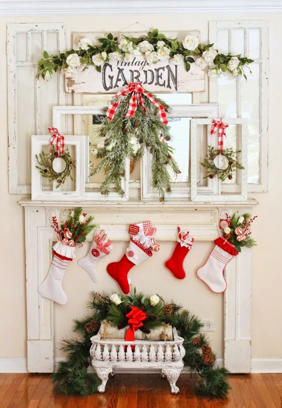 Farmhouse Christmas Mantel-Junk Chic Cottage-How I Found My Style Sundays Christmas Edition- From My Front Porch To Yours
