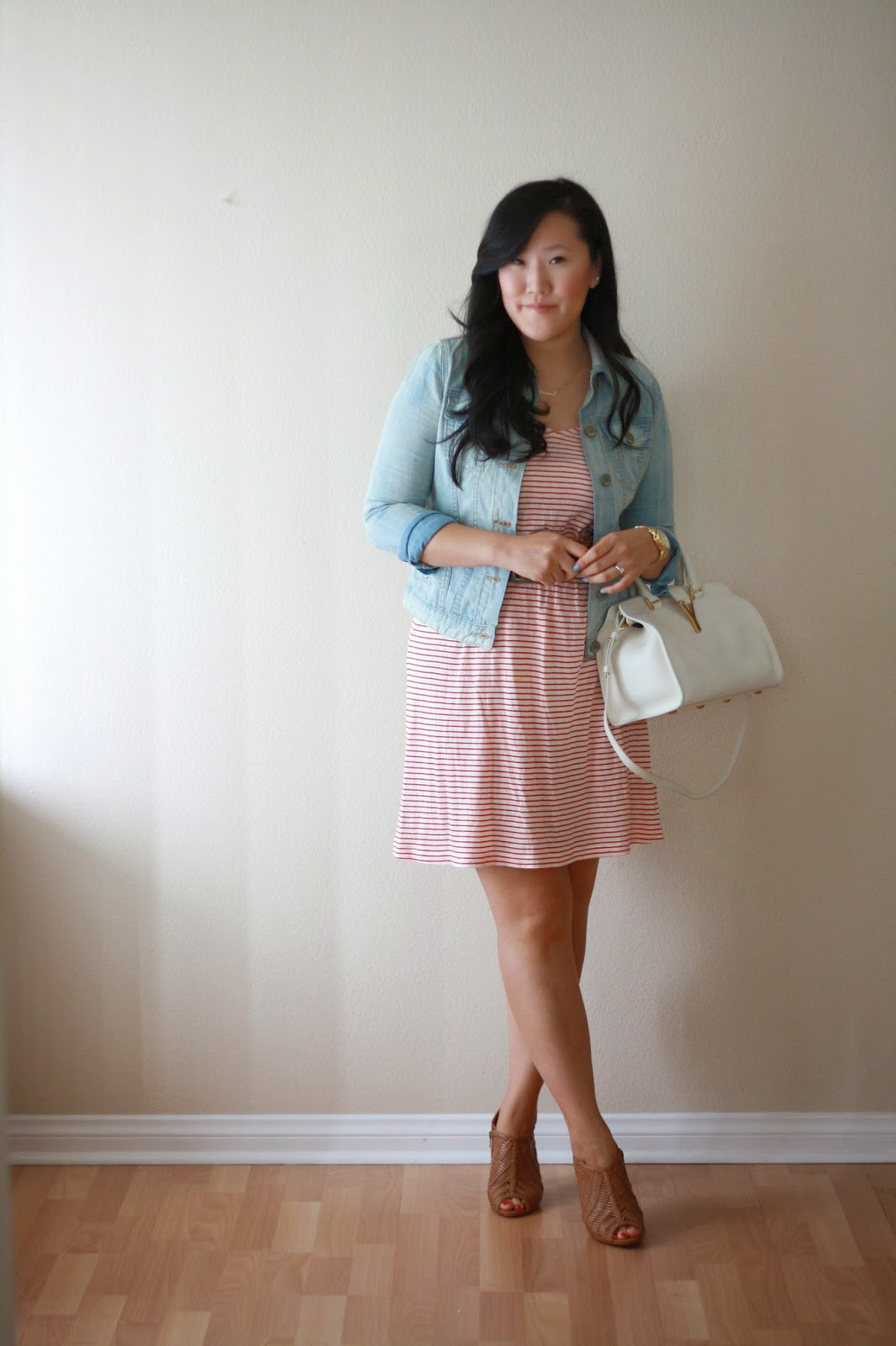 simplyxclassic, jcrew, stripes, candy stripes, ysl , ysl cabas, ysl handbag, gap denim, gap jacket, aldo shoes, heels, southern california blogger, blogger, fashion blogger, style blogger, ootd, outfit, summer