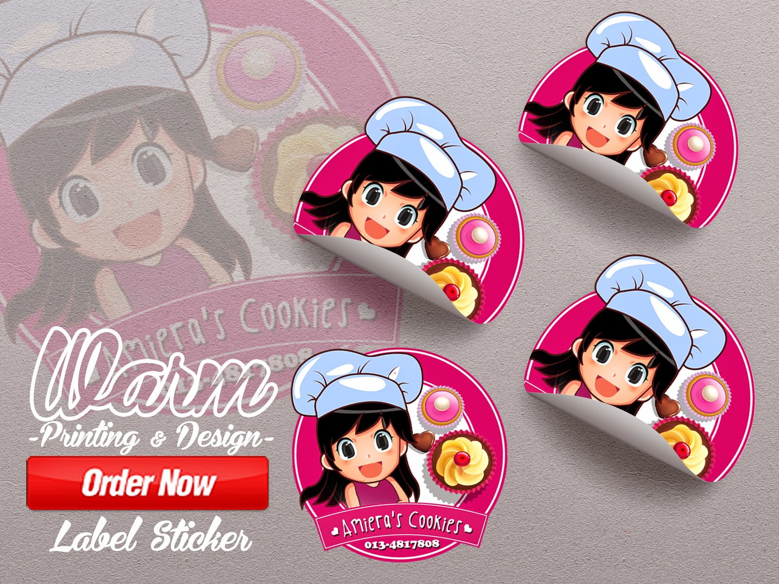 Customer cik amiera business amieras cookies 100pcs sticker free design free postage design by warm printing design