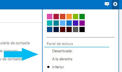panel de lectura outlook configuracion