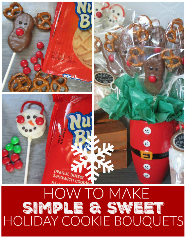 How To Make Simple & Sweet Snowman And Reindeer Holiday Cookie Bouquets Nutter Butter One Savvy Mom onesavvymom tutorial
