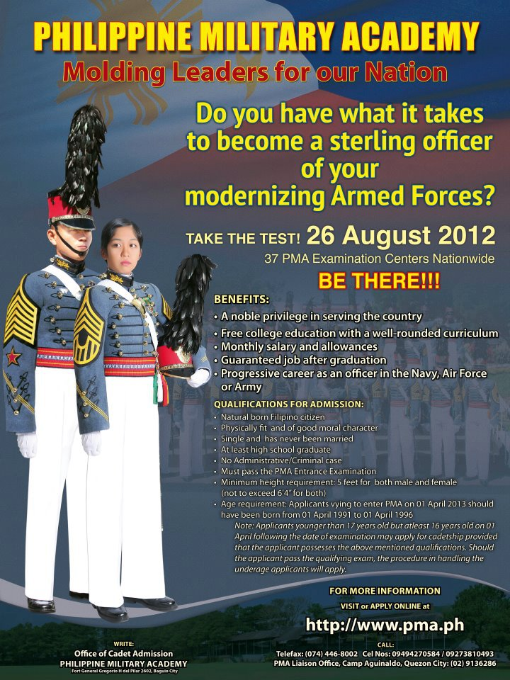 Philippine Military Academy (PMA) entrance exam, the Armed Forces of