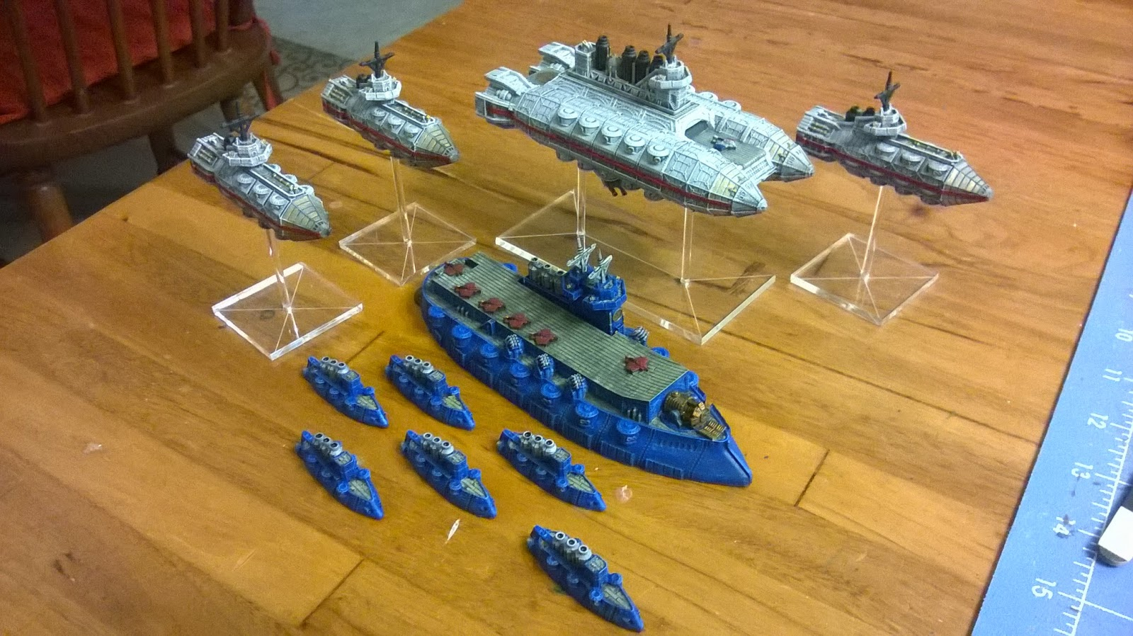 ski s wargames recently painted dystopian wars christmas stuff ziggy gave me the fliers for christmas and the frigates and blue carrier were christmas presents to myself three and a half months isn t too slow is it