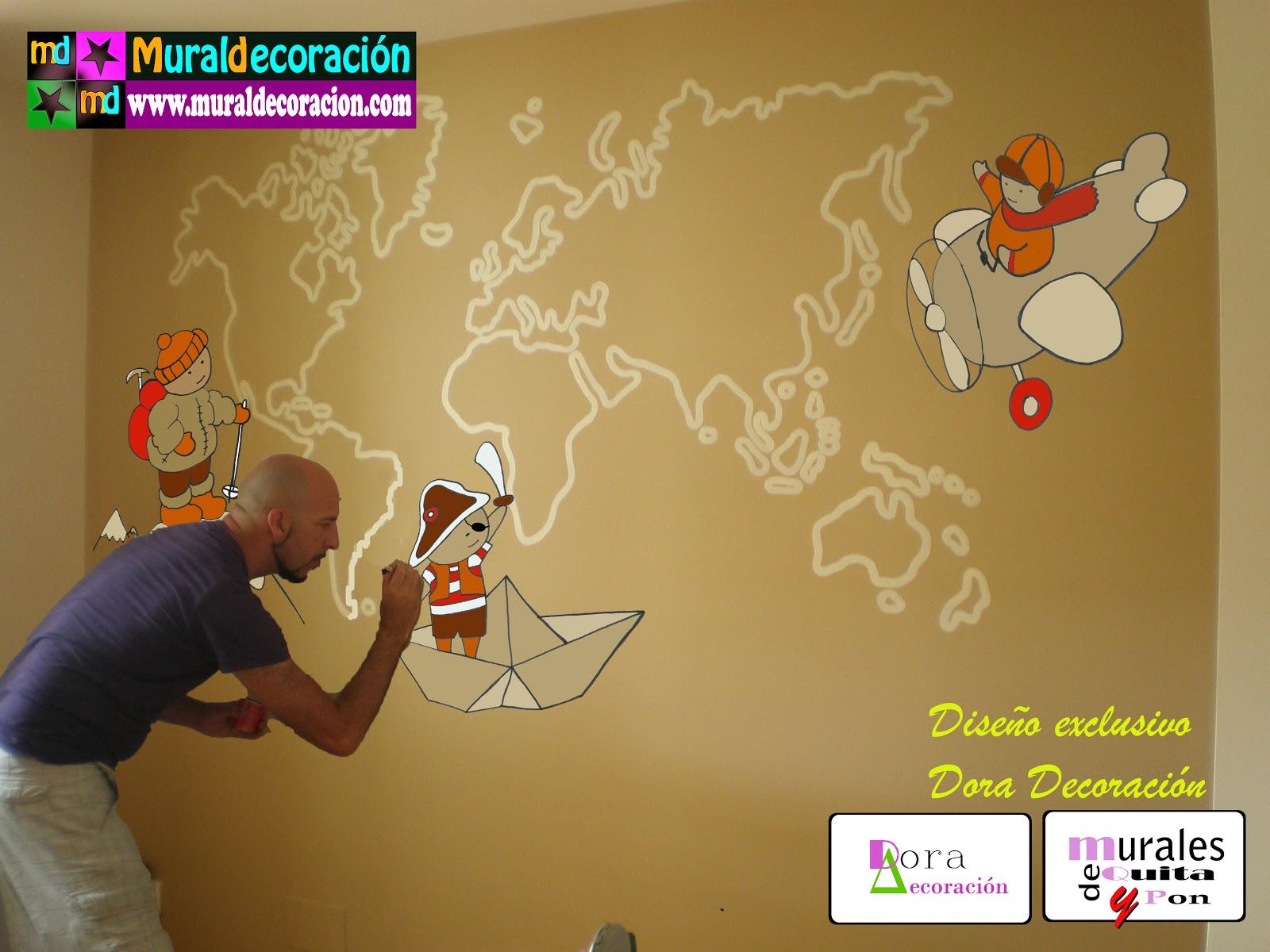 Murales infantiles mural mapa mundi para dormitorio for Adhesivos de pared infantiles