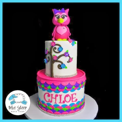 tier owl birthday cake