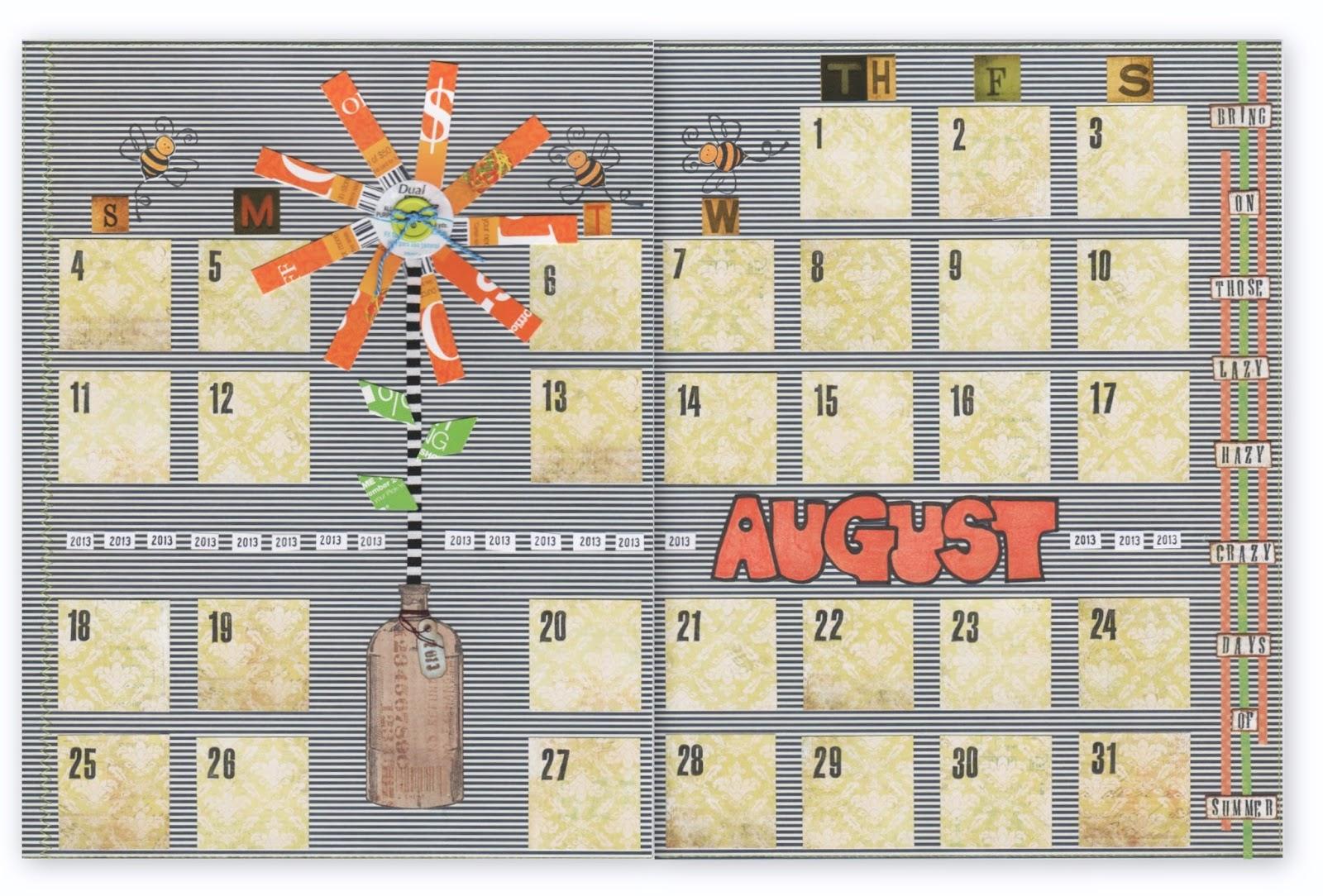 Calendar Art Journal : Freezeframe art calendar journal august