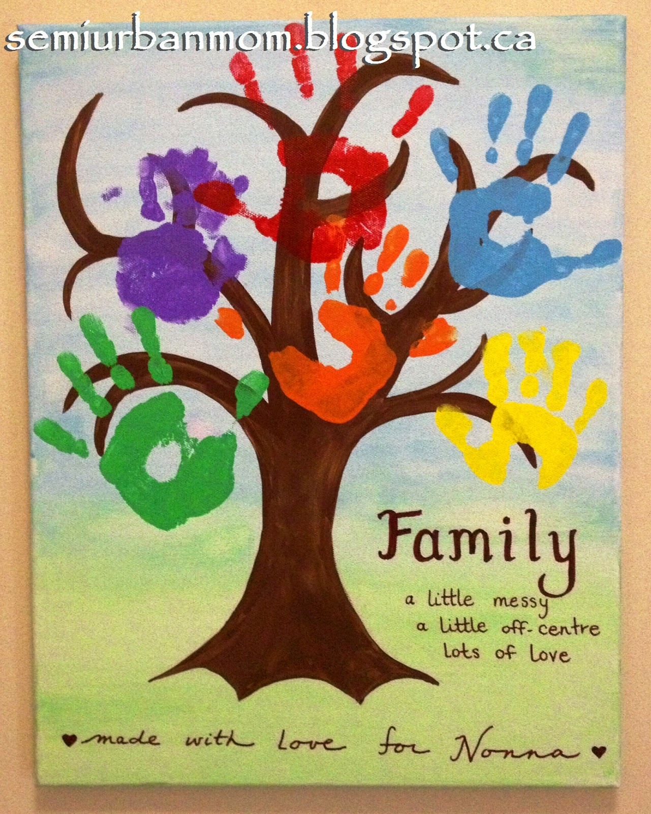 DIY kids handprint tree