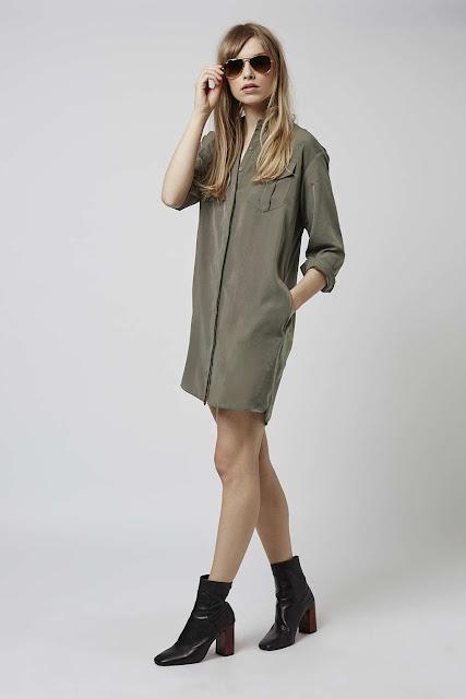 khaki shirt dress,