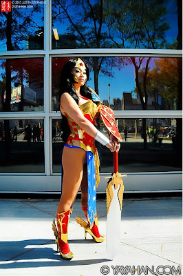 Yaya Han as Wonder Woman with sword