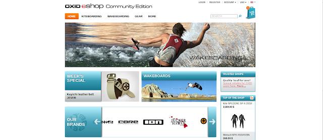 OXID eShop main screen