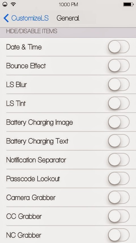 CustomizeLS General Settings