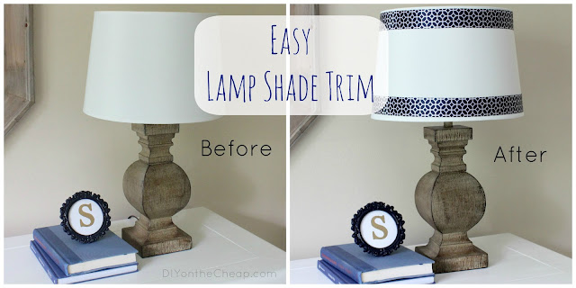 Easy Lamp Shade Trim {No glue gun required!}