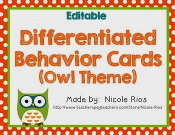 http://www.teacherspayteachers.com/Product/Differentiated-Behavior-Cards-Owl-Theme-Editable-264010
