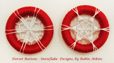 Dorset buttons, snowflake pattern designed by Robin Atkins