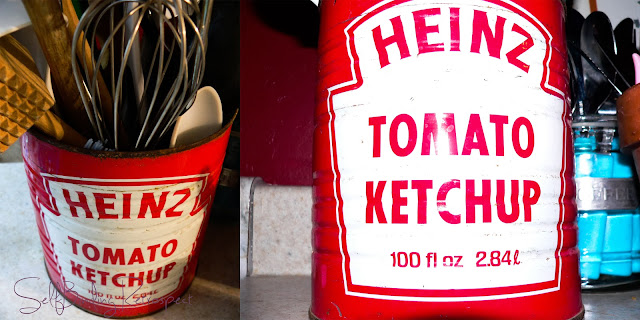 red, tin can, can, heinz ketchup, utensil holder