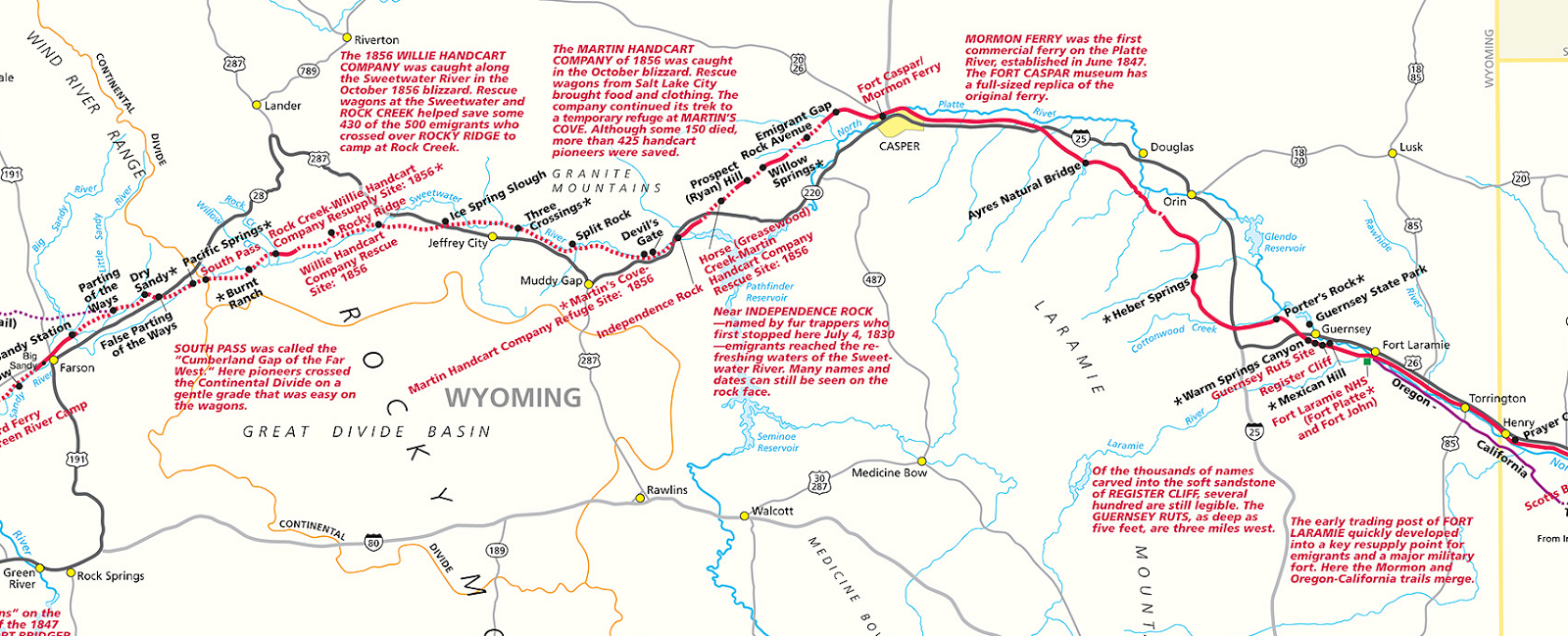 wyoming portion of the mormon trail from the national park service map
