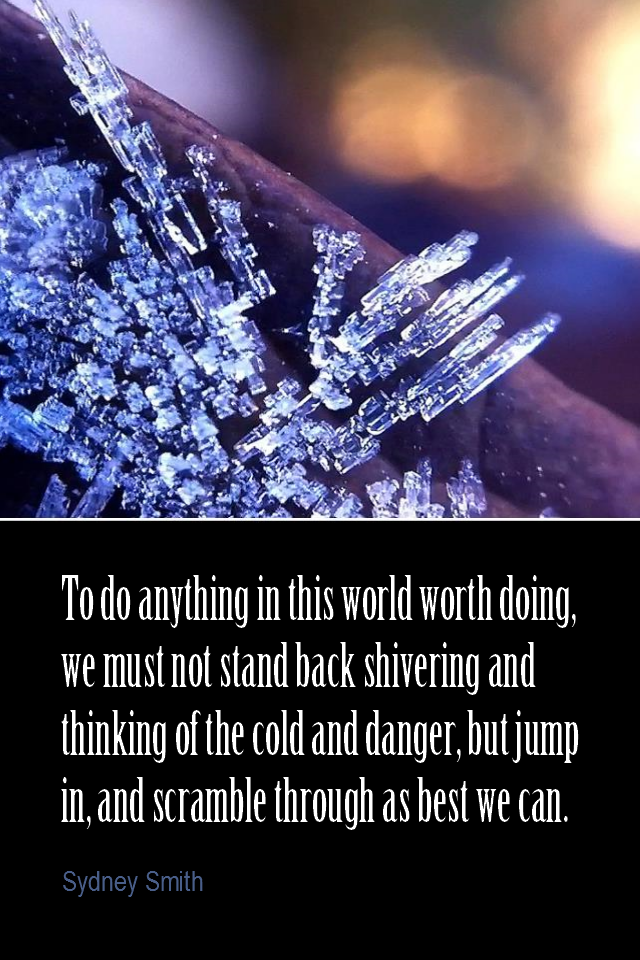 visual quote - image quotation for ACTION - To do anything in this world worth doing, we must not stand back shivering and thinking of the cold and danger, but jump in, and scramble through as best we can. - Sydney Smith