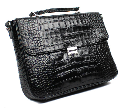 2015 Mens Modern Crocodile Pattern Leather Briefcase at PILAEO
