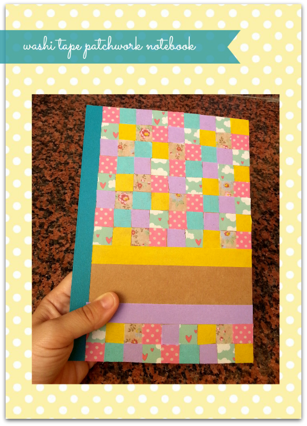 washi tape patchwork notebook DIY