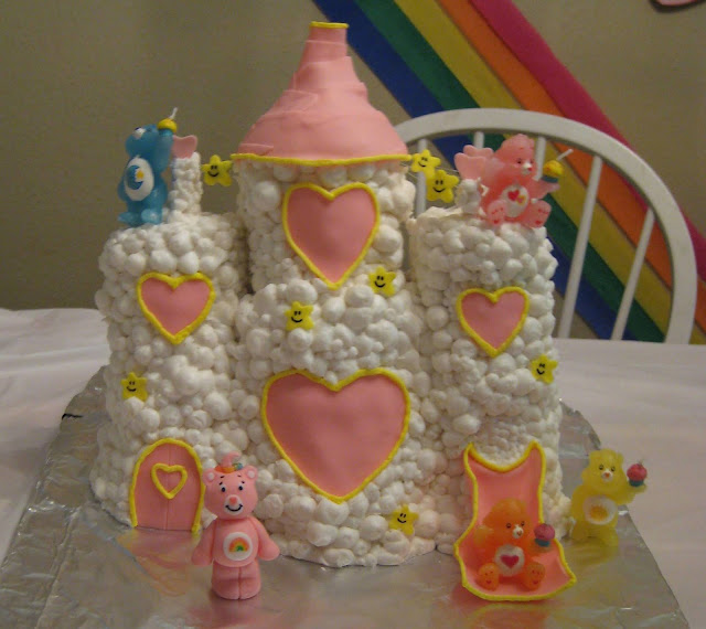 Care Bear Cloud Castle Cake - Care Bear Candles On Cake 2