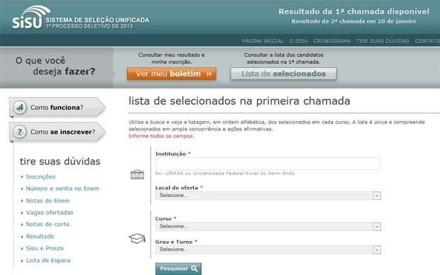 MEC disponibiliza no site do Sisu a lista de aprovados na 1ª chamada