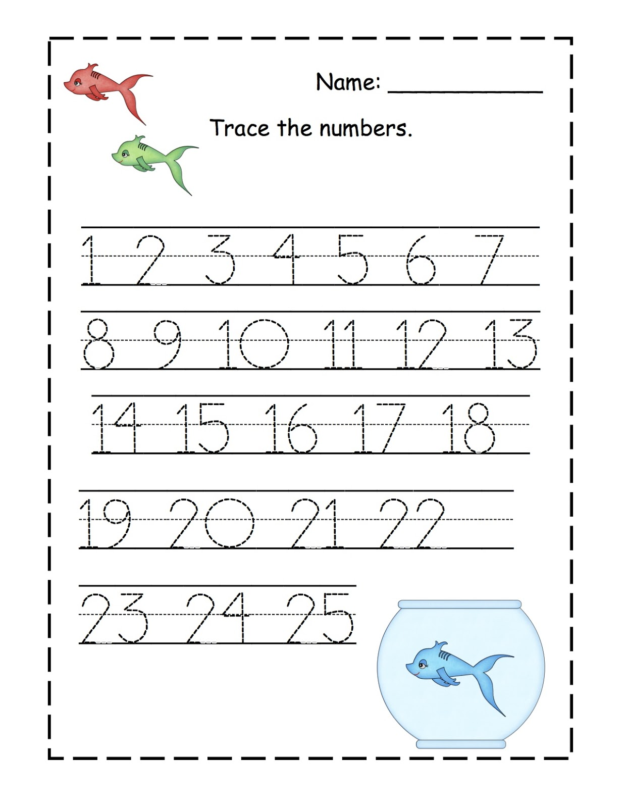 Cute Fish Number Printable (Seuss)