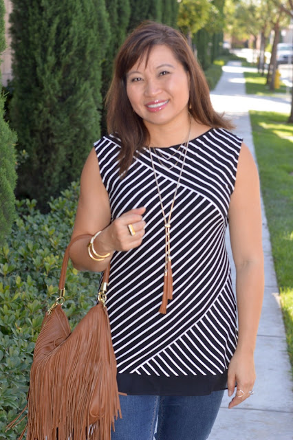 Fashion Over 40, OC Blogger, H&M Fringe purse, WHBM Double Tassel Necklace