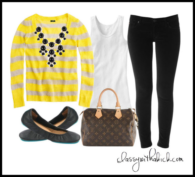 J Crew Yellow Striped Sweater, Hudson Black Skinny Jeans, Bubble Necklace, Louis Vuitton Speedy