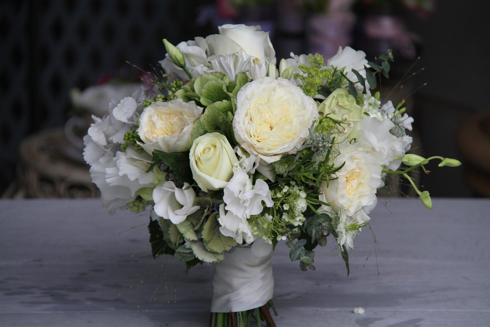 The Flower Magician White Cream Amp Green Wedding Bouquet