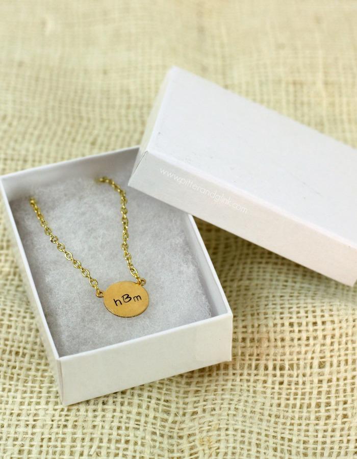 DIY Stamped Metal Monogram Necklace--A great handmade gift idea! pitterandglink.com