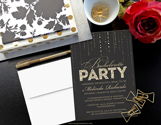 Black & Gold Bachelorette Party Invitations by The Spotted Olive