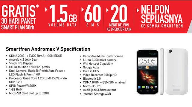 spesifikasi new smartfren andromax v 5 inchi