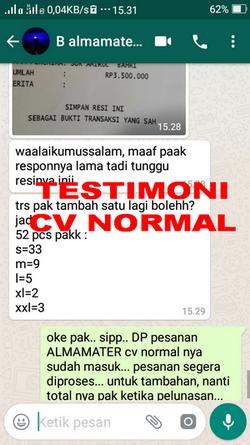 TESTIMONI PEMBELI JAS ALMAMATER CV NORMAL