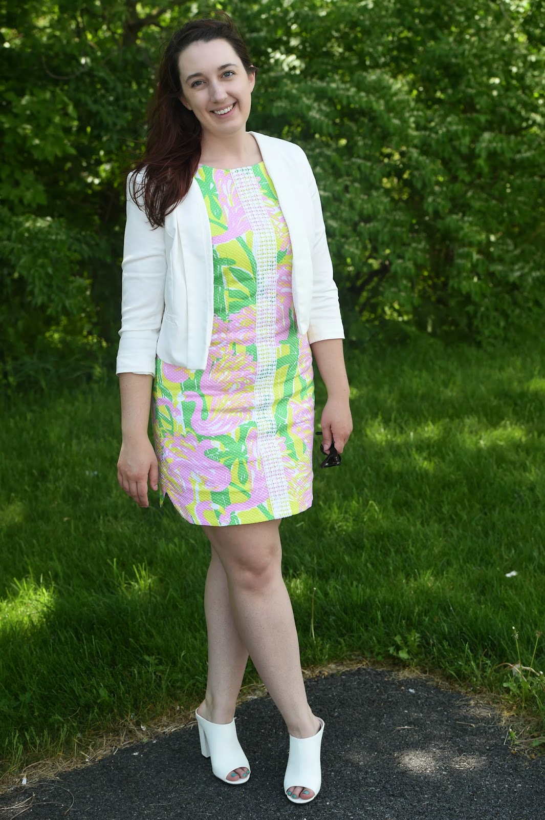 Style, Samantha Chic, Lilly Pultizer, Lilly for Target, Forever 21, white blazer, mules, shift dress, Spring dresses, summer dress, Gin Blossoms, Charlotte, South Carolina, Fury, Carowinds, Disney World, ray-ban