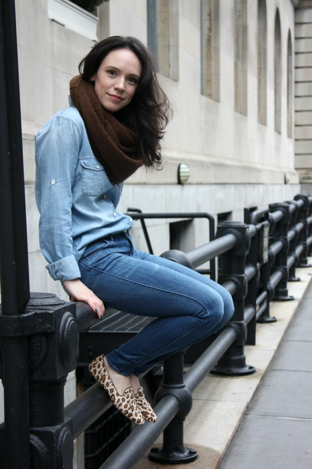 J. Crew Chambray shirt with Madewell jeans.