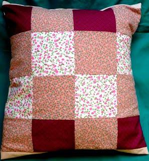 patchwork, poszewka różowa