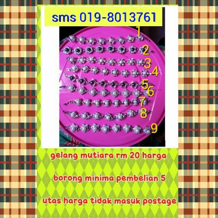 gelang mutiara silver rm 20 hrga borong