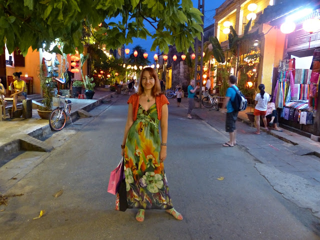 Floral print maxi dress worn with crochet shrug