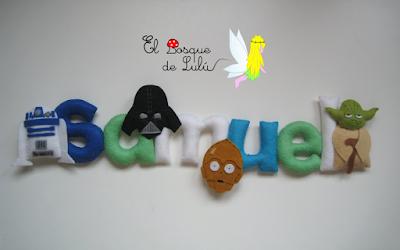 nombre-fieltro-Star-Wars-Samuel-elbosquedelulu-hechoamanoparati-regalo-personalizado-decoración-infantil-Yoda-C3PO-felt-name-banner-R2D2