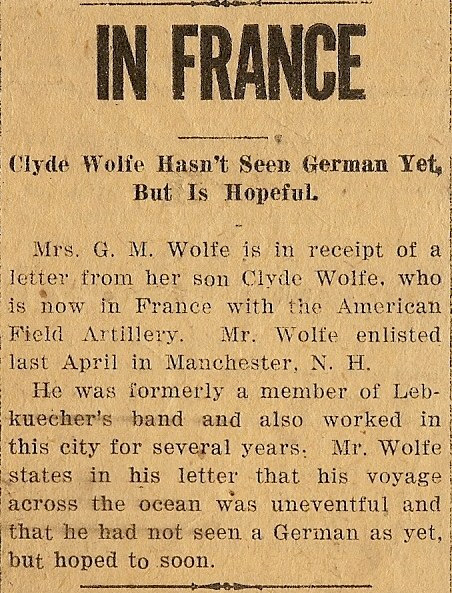Clyde deports to Europe for WWI