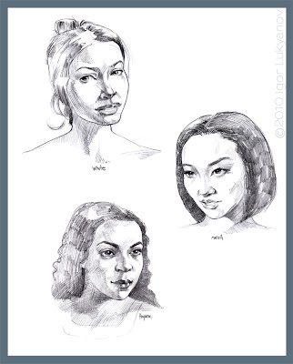 portrait sketches of women of different races (Asian, Hispanic, Caucasian (white))