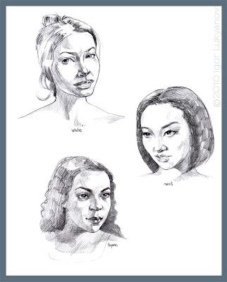 portrait sketches of women of different races (Asian, Hispanic, Caucasian (white))