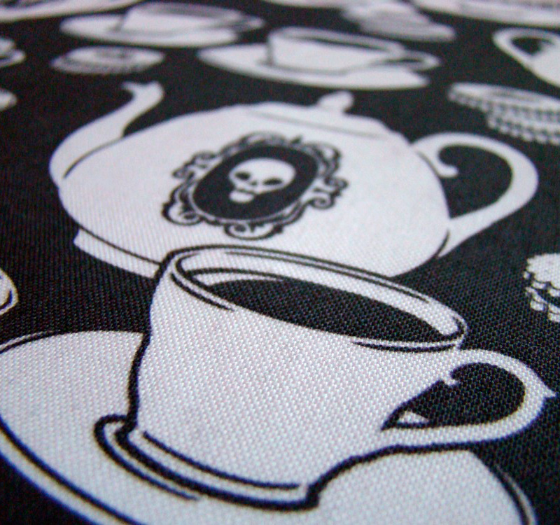 "Spoonflower swatch kona cotton closeup ""bring my tea"" by blacklilypie (http://blacklilypie.blogspot.ca/)"