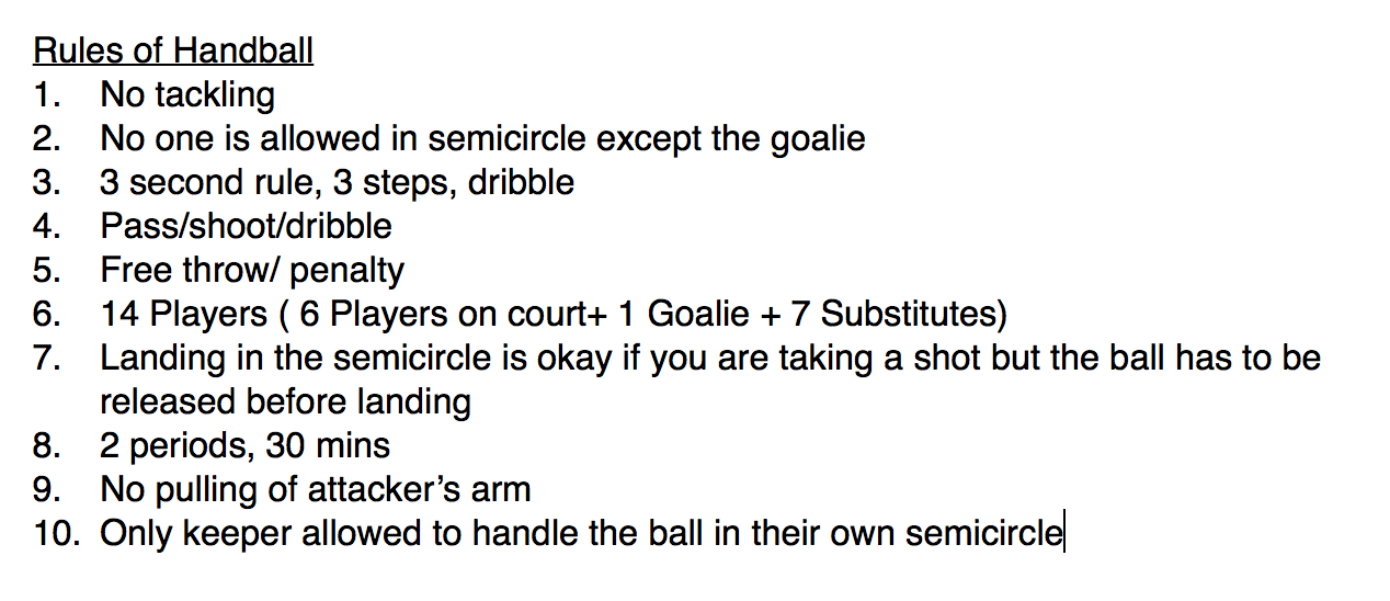 rules to handball