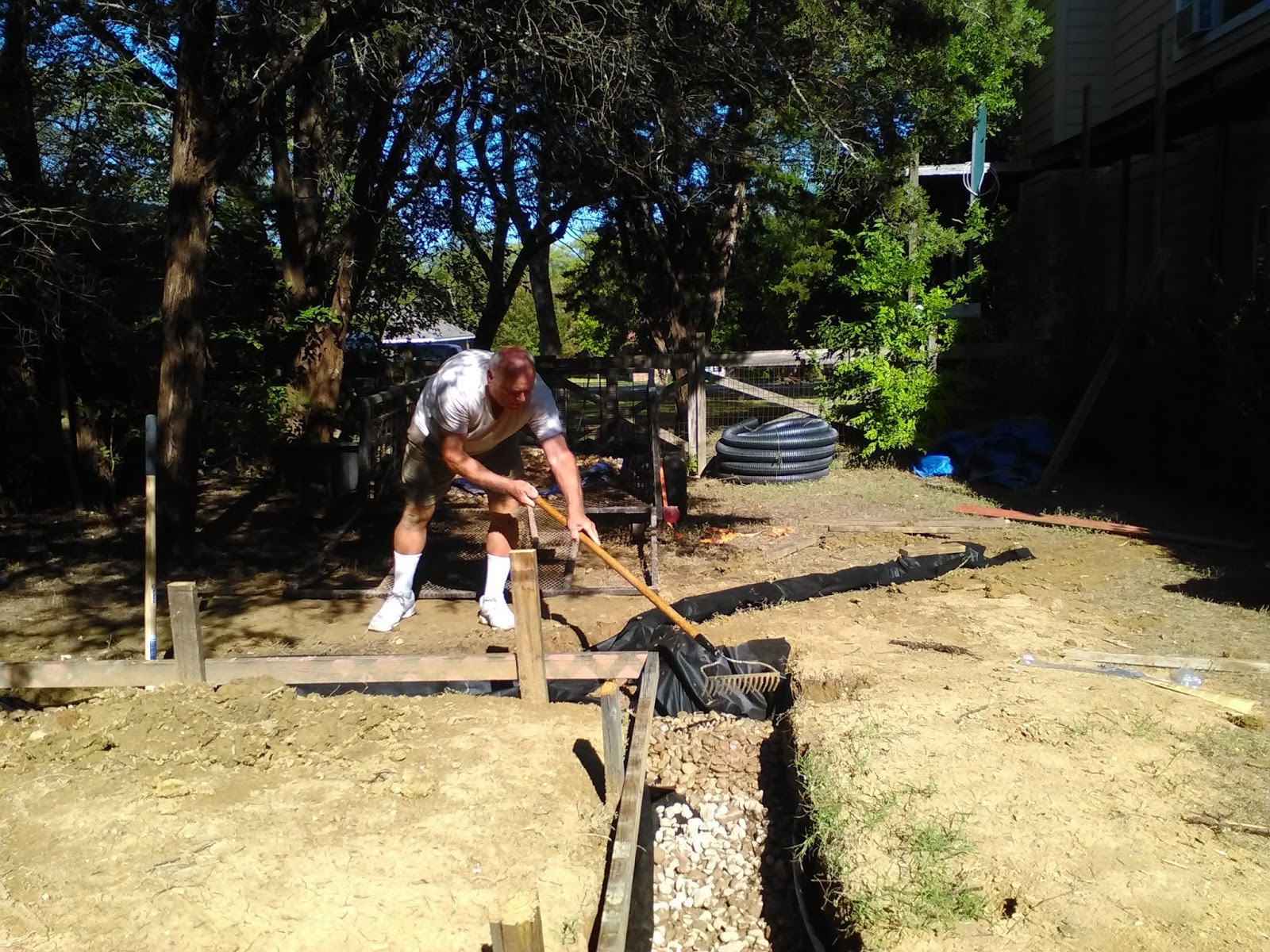 t brick shed rubble trench french drain installation