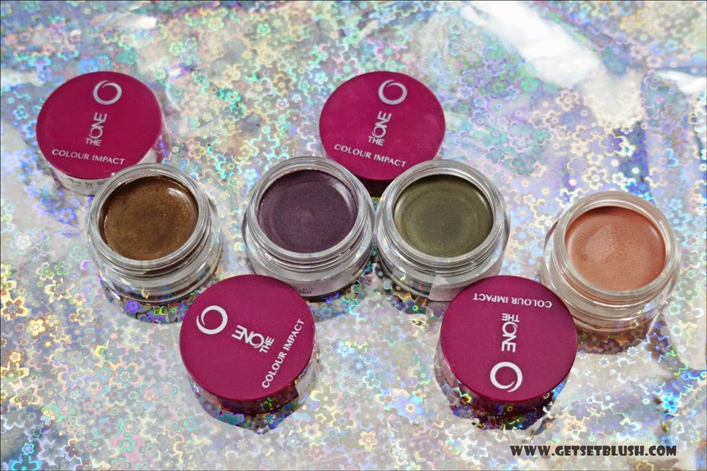 Oriflame The ONE Colour Impact Cream Eye Shadows in Golden Brown, Intense Plum, Olive Green, Rose Gold - Review, Swatches