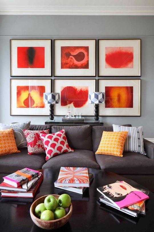 almofadas em tons de cores próximas