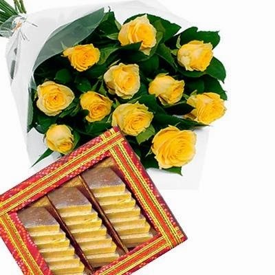 Top Yellow Roses with Kaju Sweet Flowers delivery in India