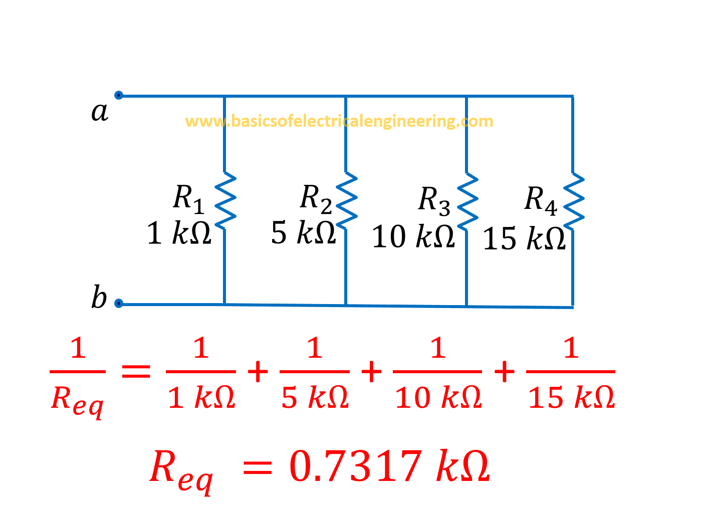 Resistors In Parallel Basics Of Electrical Engineering What Is The Equivalent Resistance Circuit Below Find Four Example 1